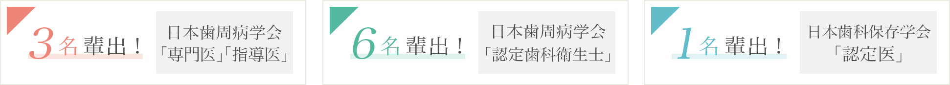 日本歯周病学会「専門医」「指導医」3名輩出 / 日本歯周病学会「認定歯科衛生士」6名輩出 / 日本歯科保存学会「認定医」1名輩出